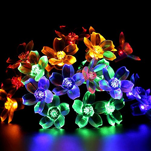 [Solar String Lights (Flower / Cherry Blossom Shape w/ 30 LEDs) - Decorative Outdoor or Indoor Holiday Lighting for Patio, Pergolas, Gazebos & Fences - Colorful Christmas String Lights (Multi] (Best 50s Costumes)