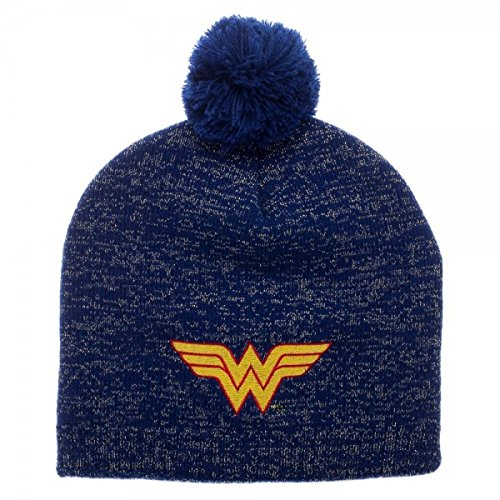 DC Comics Wonder Woman Metallic Lurex Pom Beanie (Beanie Hat Dc)