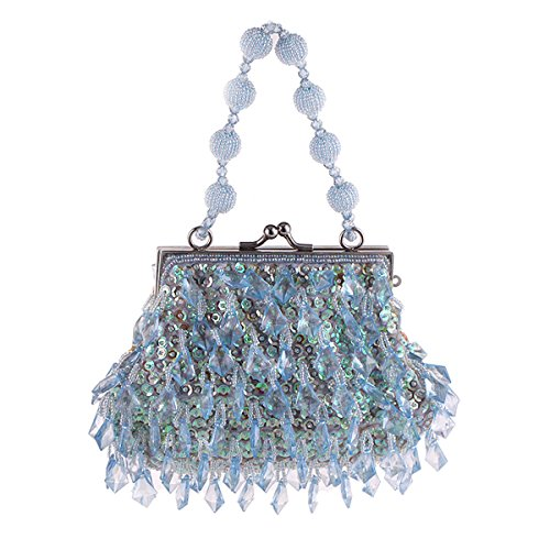 assels Clutch for Women Classical Evening Handbags with Beaded Chain Blue ()