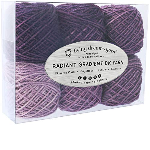 Living Dreams Radiant Gradient DK Yarn. Super Soft Merino Silk. USA Hand Dyed: Purple Mountains