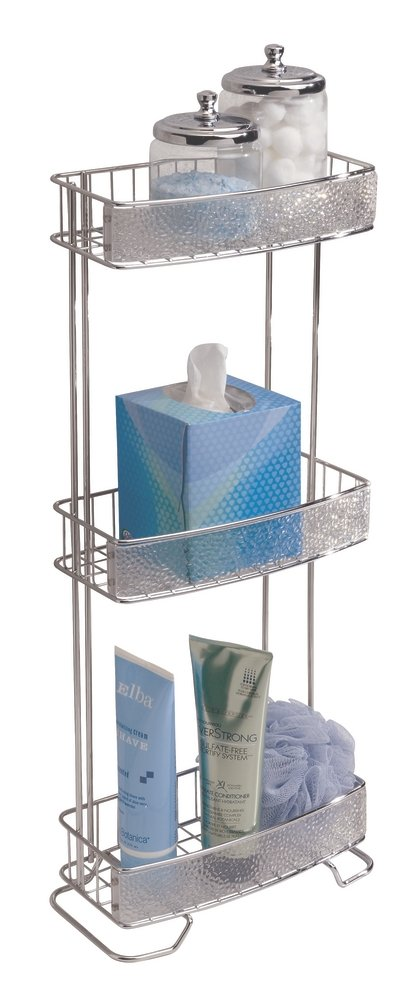 mDesign Free Standing Bathroom Storage Shelves for Towels, Soap, Candles, Tissues, Lotion, Accessories - 3 Tier, Clear/Chrome