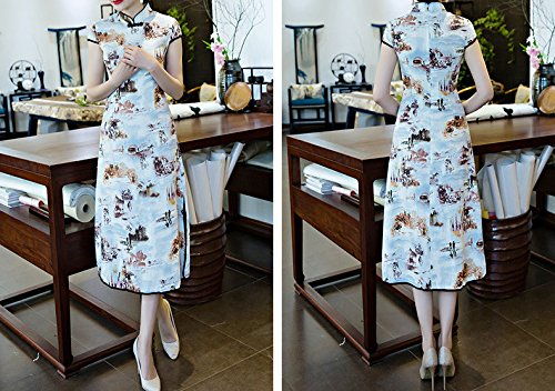 Orange Qipao Dress Acvip Woman Cheongsam Printed Landscapes Long Asian wUvfpx