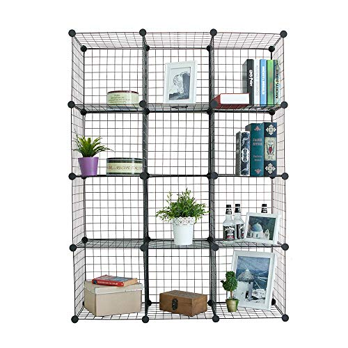 Newdora Wire Storage Cubes, Wire Grids Cube Closet Organizer Shelf Cabinet Bookcase, Free Standing Modular Shelving Units Closet Organization Systems,12 Black