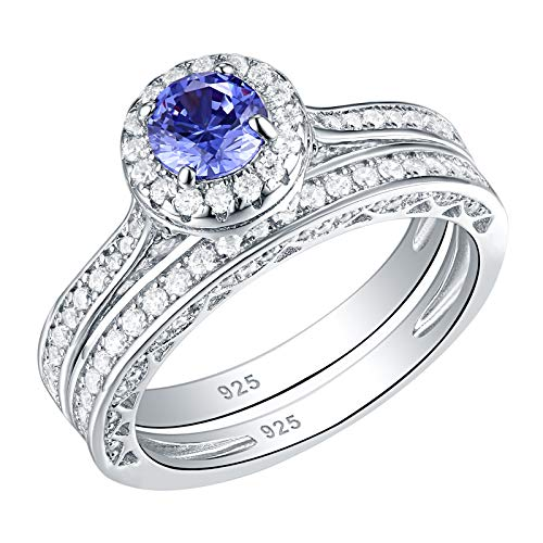 14k Tanzanite Jewelry Set - SHELOVES Simulated Blue Tanzanite Wedding Rings for Women Engagement Ring Set 925 Sterling Silver 6