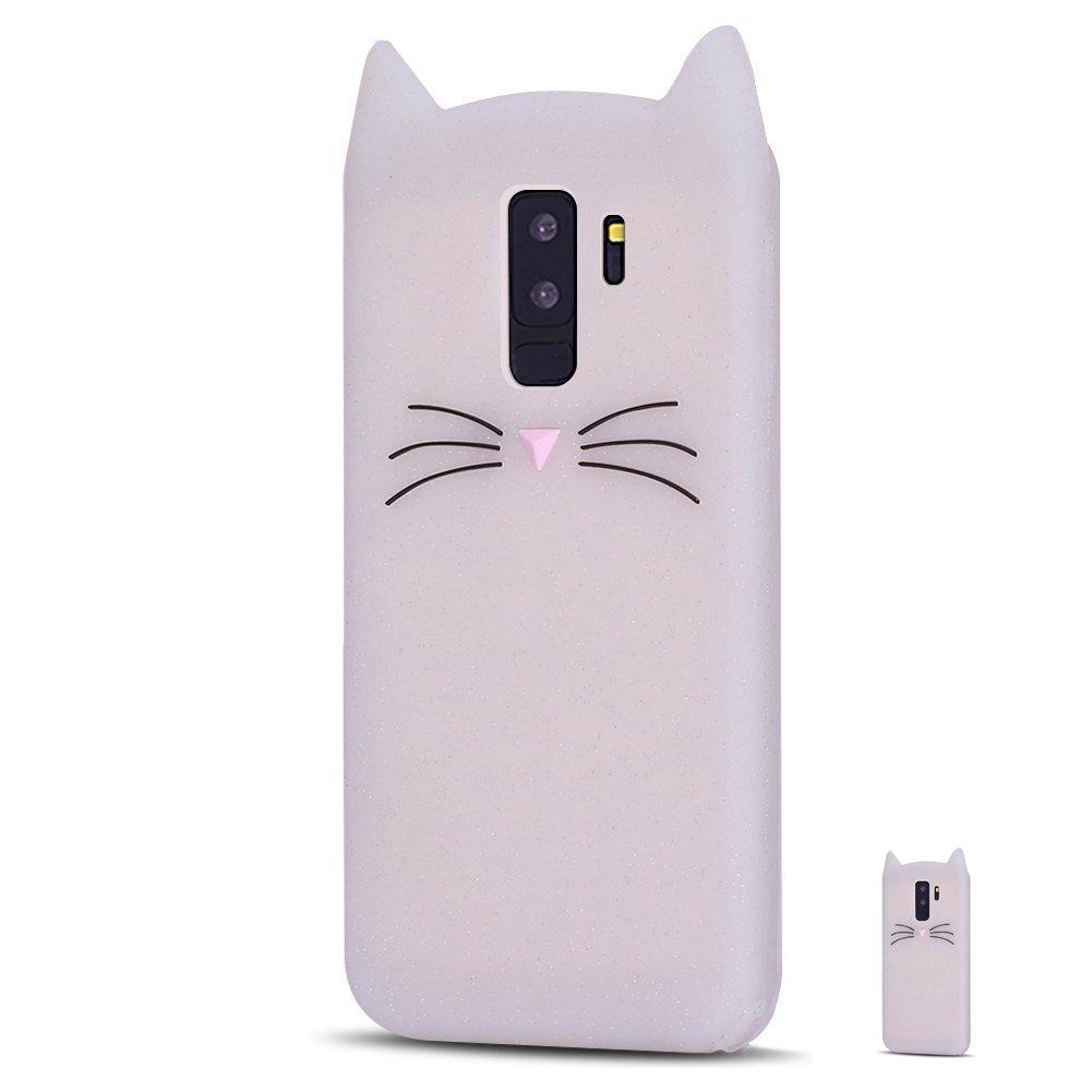 HopMore Coque Samsung Galaxy S9 Silicone Souple Chat 3D Design Motif Drôle Mignonne Etui Samsung S9 Étui Antichoc Ultra Mince Fine Gel Bumper Slim Case Etui Housse Protection pour Fille Femme - Noir