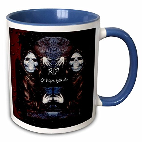 (3dRose ET Photography - Halloween Designs - Grim reaper with tombstone and Halloween saying - 15oz Two-Tone Blue Mug)