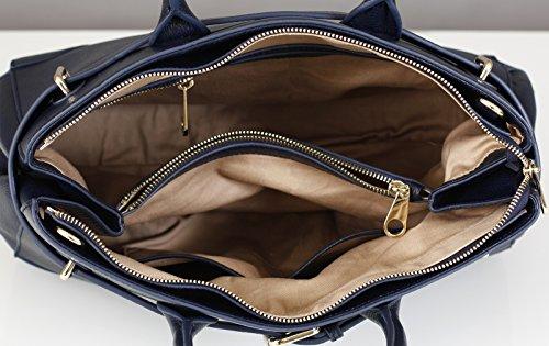 BELUCIA STRADELLA Sac porté main,Sac à main,véritable cuir de veau de grain, Couleur Bleu Foncé-Noir,Retours gratuits de France