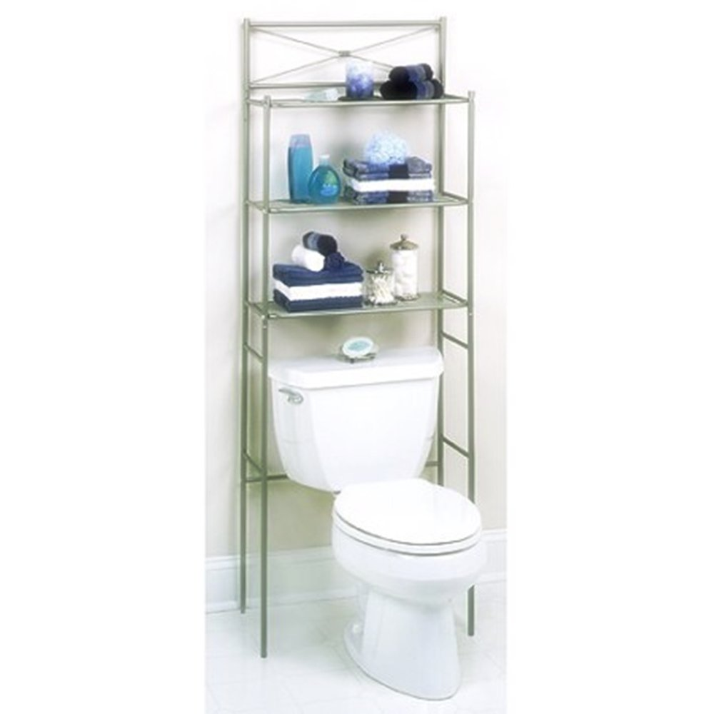 Cross Bar 3-Tier Over-the-Toilet Bathroom Spacesaver made Sturdy Metal Construction, Easy Assembly Spacious Storage Rack in Satin Nickel Finish