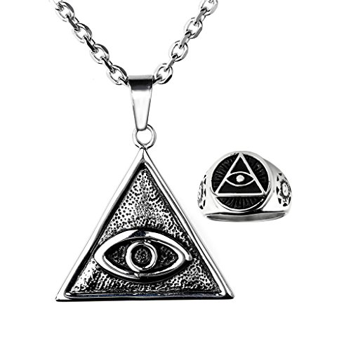 JOVIVI Mens Stainless Steel The All Seeing Eye Triangle Pendant Necklace & Eye of God Band Ring Set, US 9-13 - Eye Pendant Set