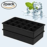 Silicone Ice Cube Tray Molds - Candy Cake Baking Molds Chocolate Mold Tool Black 15 Cavity Pack of 2 Easy Pop Release BPA Free