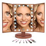 Makeup Vanity Mirror with LED Lights BUNDLE 7 Piece Bonus Brush Set Magnification 1x2x3 Portable Trifold Lighted Mirrors Dual Power Xtra Long USB Cable (Rose Gold)