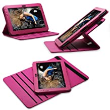 Fosmon GYRE Series 360 Degree Revolving Leather Case With Multi Angle Stand for Samsung Galaxy Note 10.1 - Dark Pink
