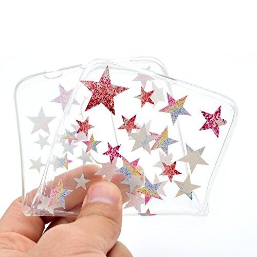 Ecoway TPU Funda Funda para Xiaomi Redmi note 4, Ultra Delgado Carcasa Antideslizante Suave Parachoques Resistente a los arañazos Contraportada Funda de silicona transparente transparente Parachoques  Estrella de cinco puntas
