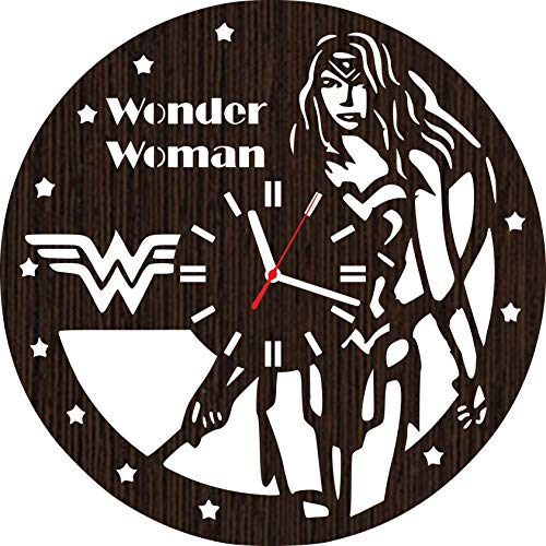 Lovelygift4you Handmade Wooden Wall Clock Wonder Woman Diana Superhero Cosplay Costume mask Accessories Vinyl]()