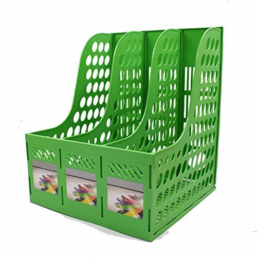 Magazine File Holder,SAYEEC Sturdy Desktop Triplicate Magazine Literature Plastic Holders Frames File Dividers Document Cabinet Rack Display and Storage Organiser Box Green by SAYEEC