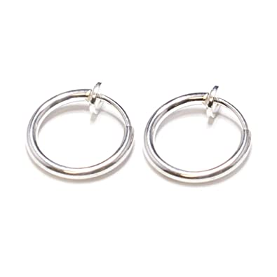 Silver Non Piercing Spring Hoops Jewelry Lip Ears Nose Clip On