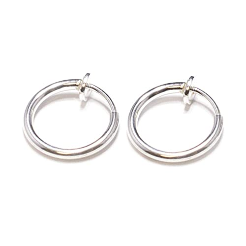 Silver Non Piercing Spring Hoops Jewelry - (Lip, Ears, Nose) Clip On