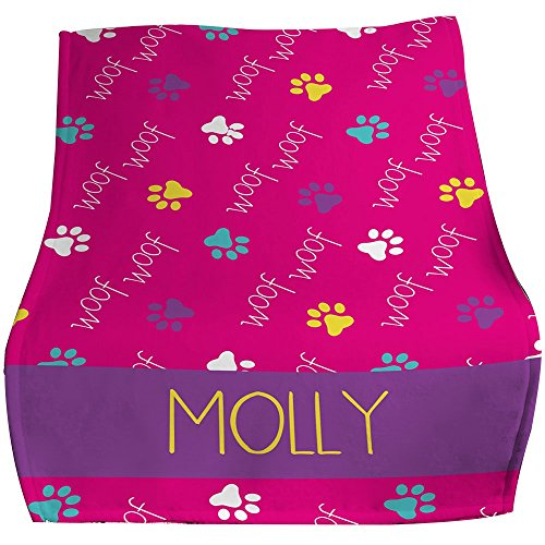 - GiftsForYouNow Woof Woof Personalized Pet Throw Blanket, Pink