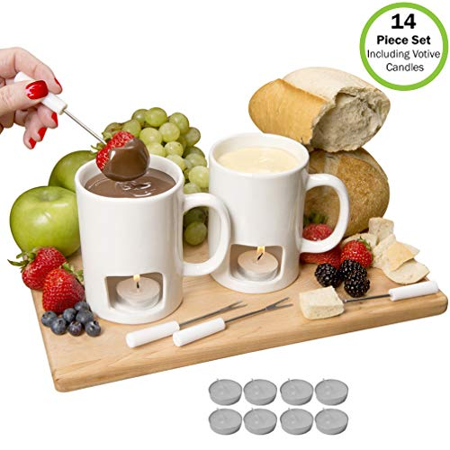 Evelots Personal Fondue Mugs-NEW & IMPROVED-Ceramic-Microwave Safe-14 Piece Set