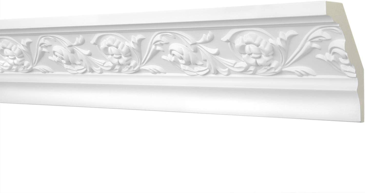 Stuckleiste aus PU gemustert wei/ß AA014 Hexim Perfect 2 Meter Zierprofil 80x55mm sto/ßfest Eckleiste Dekorleiste Stuckprofil Zierleiste