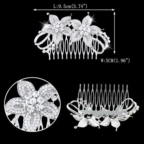 Ever Faith - Cristal Autrichien Fleur Joli Peignes Transparent Plaqué Argent N04289-1
