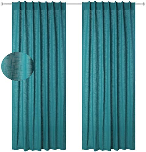 Cotton Clinic Window Curtains 2 Panels 48x108, Farmhouse Curtains for Living Room, Curtains for Bedroom, Curtains 108 Inch Length - 2 Pack Set Pure Cotton Tab Top Curtains -