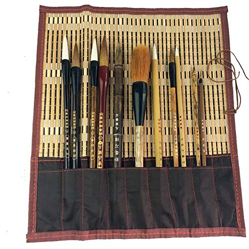 Shanlian Hubi Claborate-Style Painting Writing Brush Watercolor Chinese Calligraphy Brush Set Kanji Japanese Sumi Painting Drawing Brushes 11 Piece/Set+Roll-up Bamboo Brush Holder