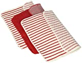 Now Designs Scrubby Stripe Dishcloths, Red, Set of 3