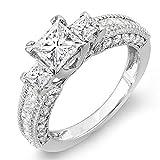 2.25 Carat (ctw) 14k White Gold Princess & Round Diamond Ladies 3 Stone Ladies Engagement Bridal Ring 2 1/4 CT (Size 7.5)
