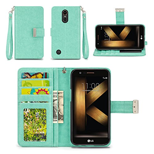 LG K20 Plus Case, LG K20 V Case, LG Harmony Case - IZENGATE [Classic Series] Wallet Cover PU Leather Flip Folio with Stand (Mint)