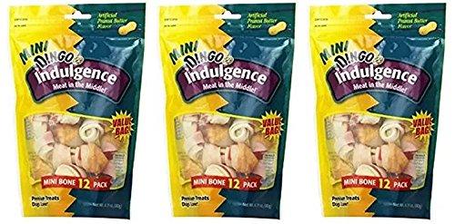 Dingo Indulgence Mini Peanut Butter 12pk 6.35 Oz (Pack of 3)