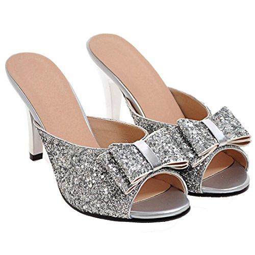 161271d6d08e15 ... AIYOUMEI Damen Glitzer Peep Toe Stiletto High Heels Pantoletten mit  Schleife Bequem Modern Pailletten Sandalen Silber ...