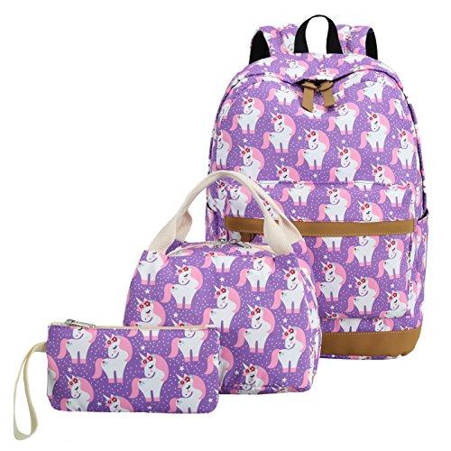 CAMTOP Teens Backpack for School Boys Girls School Bookbag Set Travel Daypack (3pcs Backpack sets/Purple) by CAMTOP (Image #4)