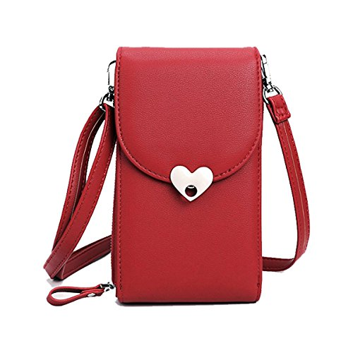 Holder Leather Credit wred For Samsung Cell 5 5 186 With PU Storage iPhone Inch Card Smartphone Bag Women Wallet Pouch Phone Under Purse Girls Crossbody Sq8867