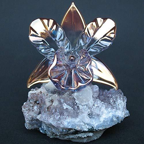 Orchid Figurine of Hand Blown Glass on Amethyst Crystals