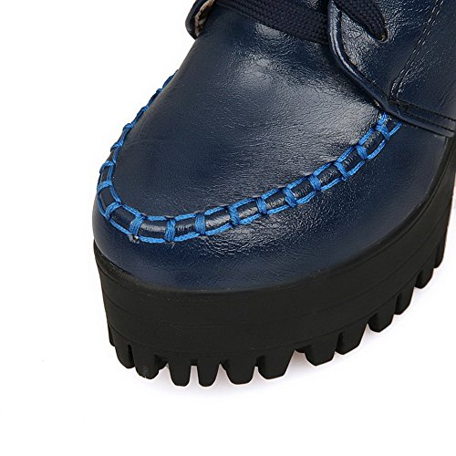 Allhqfashion Mujeres Round Closed Toe Tacones Altos Material Suave Low-top Solid Botas, Azul, 41