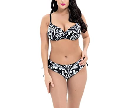 5ad9cfdf570e9 xiaoyang Women's Plus Size Pleated Push up Two-Piece Swimsuit Swimwear  Bikini Bathing Suits (