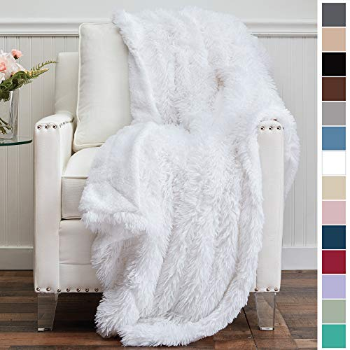 The Connecticut Home Company Shag with Sherpa Reversible Throw Blanket, Super Soft, Large Plush Wrinkle Resistant Blankets, Warm and Hypoallergenic Washable Couch or Bed Throws, 65x50, White (Big Blanket Furry)
