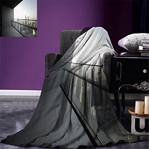 smallbeefly Modern Digital Printing Blanket Arabian City Dubai Landscape Downtown from Balcony Photo Image Print Summer Quilt Comforter Charcoal Grey and White by smallbeefly