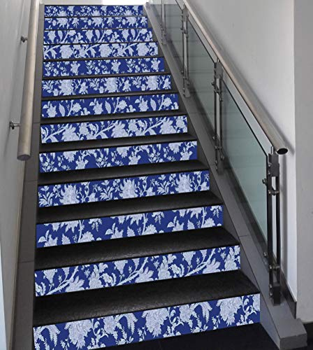 Stair Stickers Wall Stickers,13 PCS Self-adhesive,Floral,Classic Middle Eastern Flowers and Paisley Pattern Ottoman Nostalgic Bloom Design,Royal Blue,Stair Riser Decal for Living Room, Hall, Kids Room