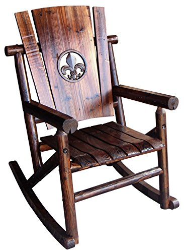 Leigh Country TX 93619 Rocker with Fleur-De-Lis Medallion Outdoor
