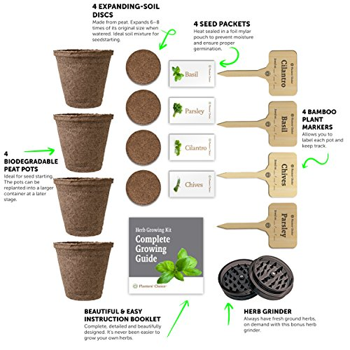 Planters' Choice Organic Herb Growing Kit + Herb Grinder - Complete Kit to Easily Grow 4 Herbs from Seed (Basil, Cilantro, Chives & Parsley) with Comprehensive Guide | Unique Gift by Planters' Choice (Image #3)