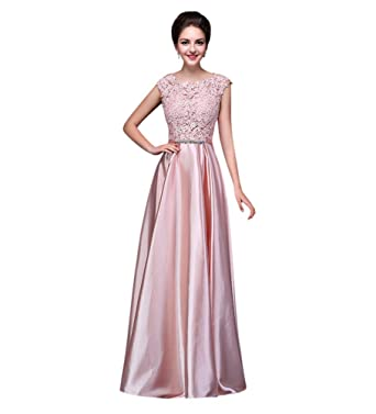 fef5a198b07 Drasawee Women Long Satin Bridal Bridesmaid Dress Lace Prom Party Formal  Gowns Pink US0