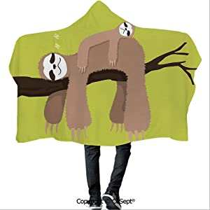 SCOCICI Wearable Hooded Blanket,Cartoon Mother Sleeping on Branch with Kid Sloth on Her Back Carefree Family Decorative,for Adults and Children(59.05x51.18 inch),Cocoa Green