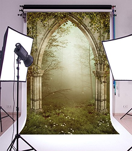 Laeacco Vinyl 5x7ft Photography Background Old Gothic Ruins with Ivy Fairytale Enchanted Garden Forest Arch Fog Grassland Theme Backdrops Portraits Shooting Video Studio Props -