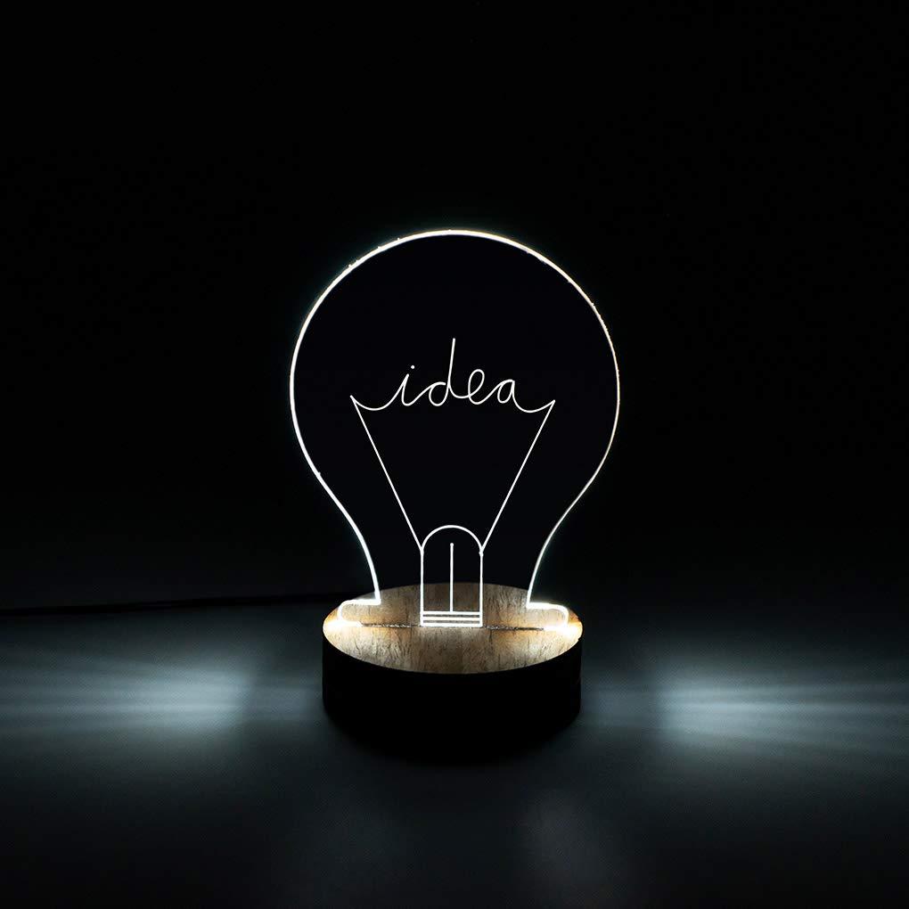 Balvi Lampe Idea avec lumi/ère LED en Forme dampoule Bois//Acrylique