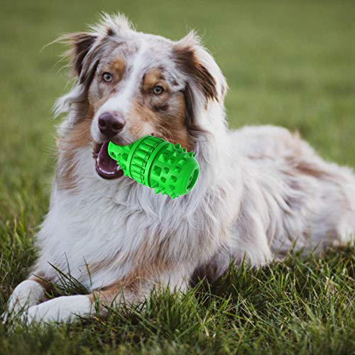 GeLar Dog Squeak Toy for Aggressive Chewers, Indestructible Tough Dog Toys Toothbrush Chew Toy - Dog Teeth Cleaning Stick for Large/Medium Breed - Durable Natural Rubber, Milk Flavor (Green)