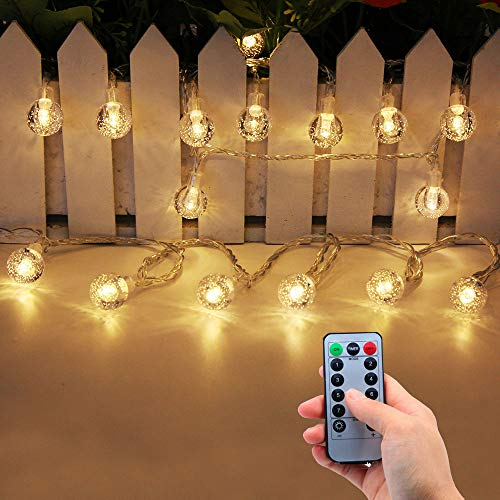Lezoey Battery Operated String Lights Indoor Outdoor 33Fft 80leds Crystal globe Led fairy Lights with Remote Control for Bedroom Patio Party Christmas Decorative Lights