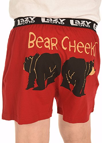 Kid's Comical Boxers by LazyOne | Boy's Funny Pajama Boxers + Sizes S-L (Large, Bear Cheeks)