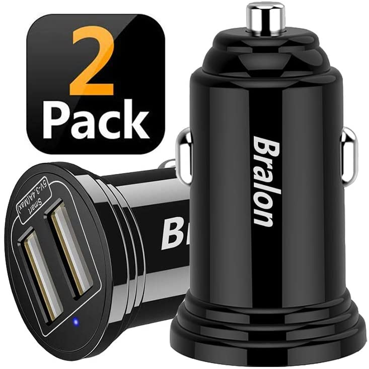 USB Car Charger,Bralon 2-Pack 24W/4.8A Mini 2 USB Fast Car Charger Adapter Compatible with iPhone 11 11 Pro(Max) Xs Max X 8 7,Galaxy Note S10 S9 S8 S7 S6 Edge,iPad Pro/Air/Mini and More